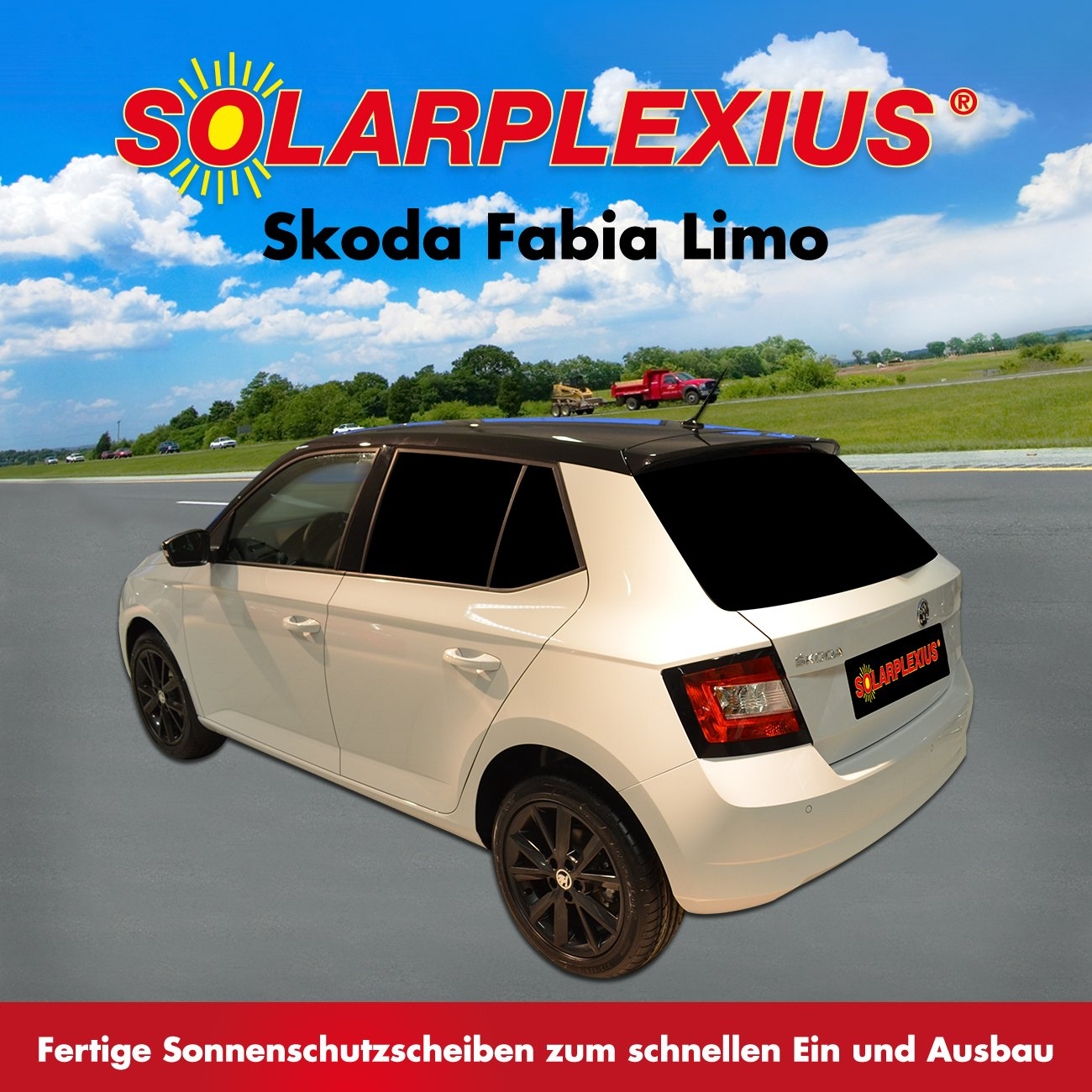 passgenaue Scheiben T/önung Vorsatzscheiben Skoda Fabia III Limo Bj.ab 2014 Keine Folien Sonnenblenden Auto Sonnenschutz fertige