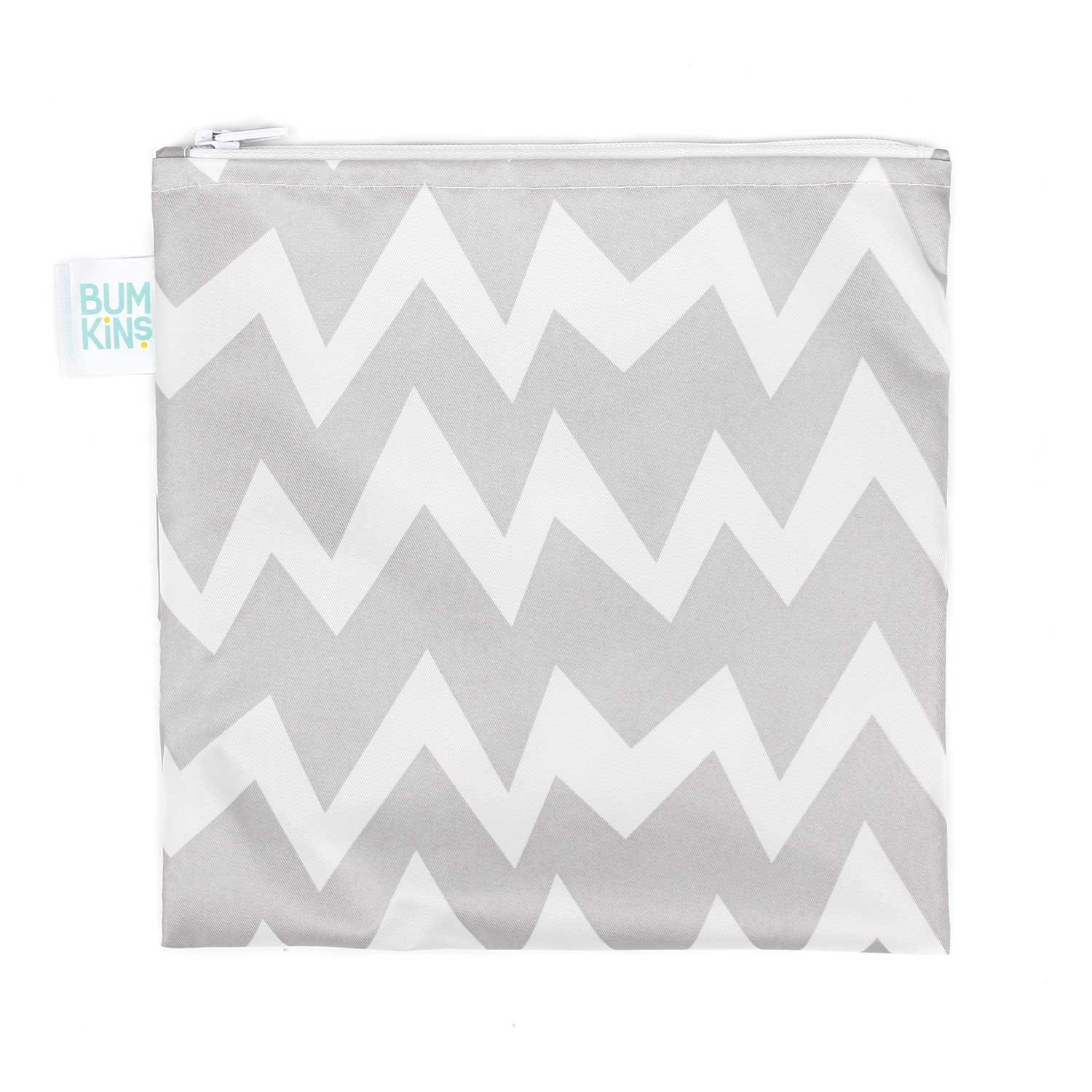 Bumkins Reusable Snack Bag, Large, Gray Chevron SBL-501