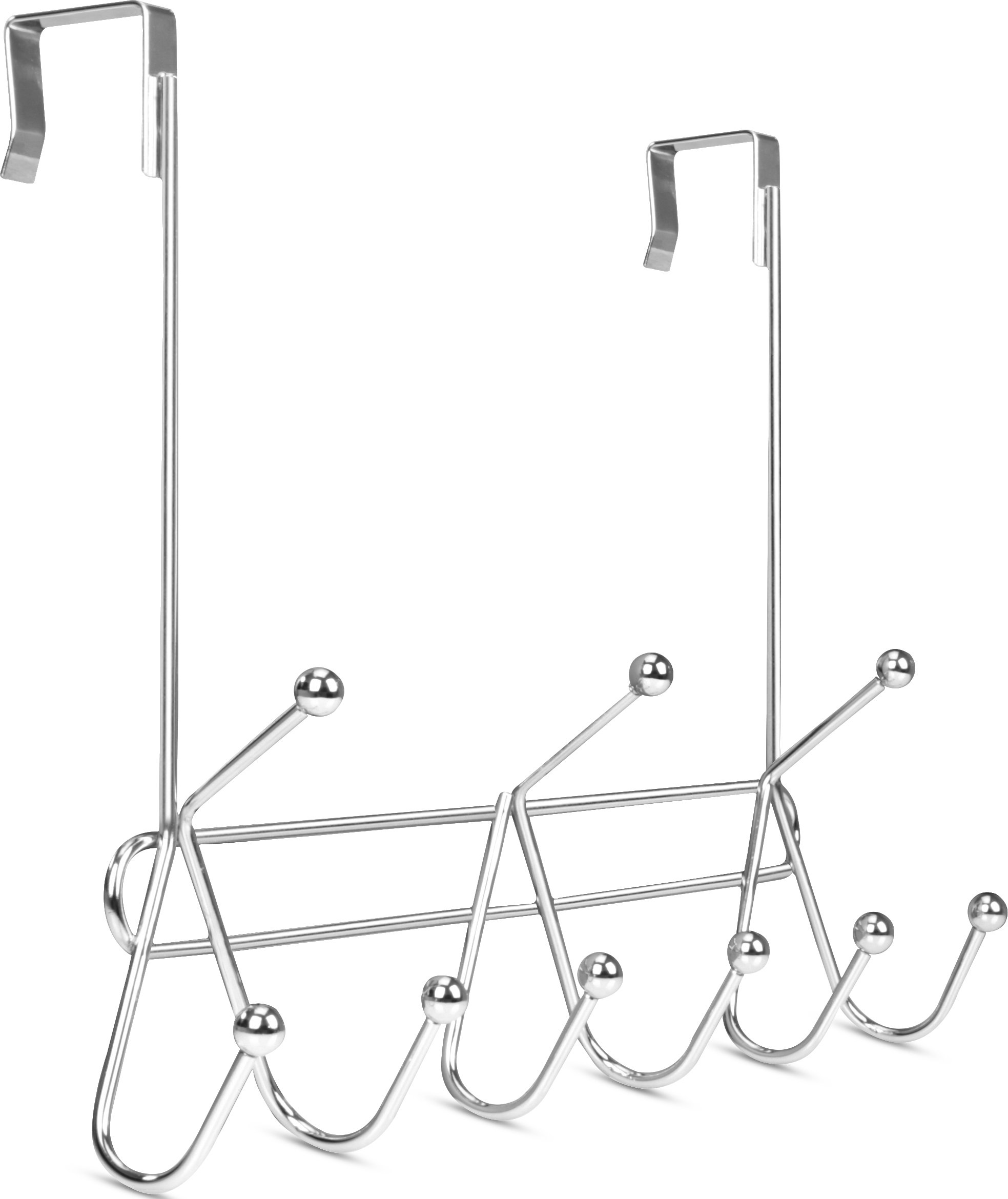 Utopia Home Over The Door Hook Rack Organizer - 9 Hooks - Ideal for Coats, Hats, Robes and Towels - Chrome Finishing