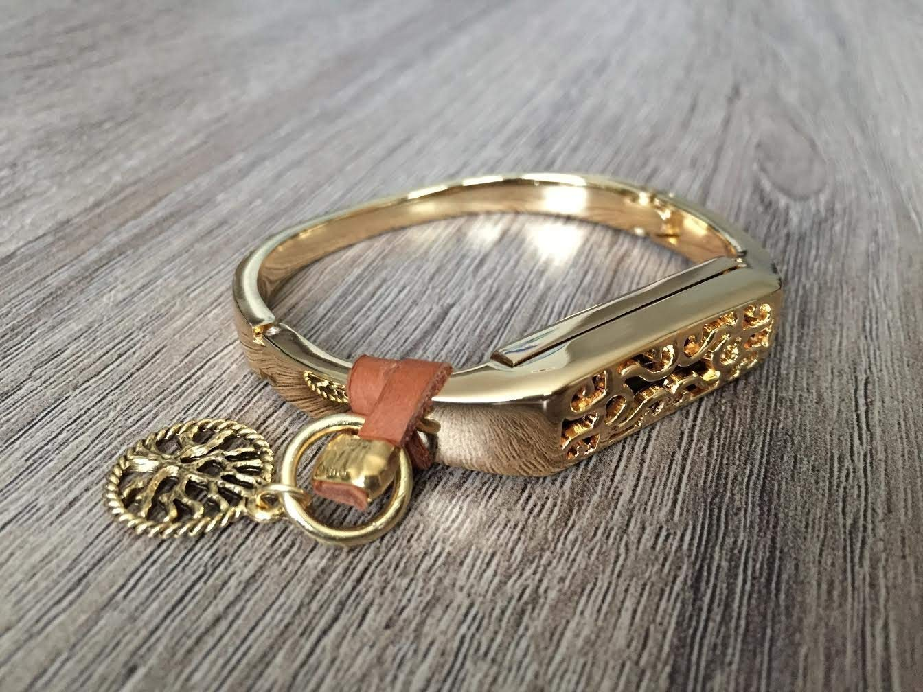 Gold Metal Band For Fitbit Flex 2 Activity Tracker Handmade Fashion Luxury Jewelry Fitbit Flex 2 Band Brown Genuine Leather Strap /& Gold Vintage Tree Of Life Charm Fitbit Flex 2 Bracelet