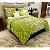 Home Candy 144 TC Floral Cotton Double Bedsheet with 2 Pillow Covers - Green (CTN-BST-514)