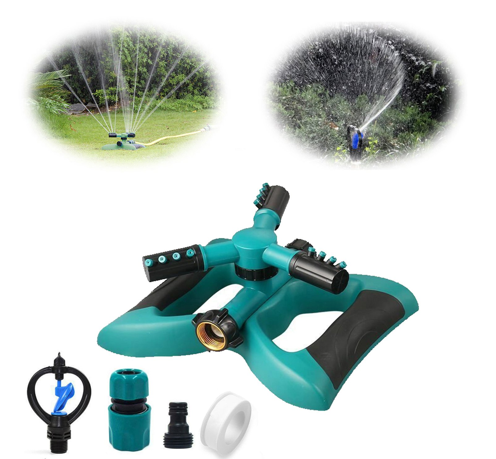 Cybbo Lawn Sprinkler, Automatic 360 Rotating Adjustable Garden Water Sprinklers Lawn Irrigation System Covering Large Area with 3 Arm Sprayers and Leak Free Durable (lawn-sprinkler-Yixin)