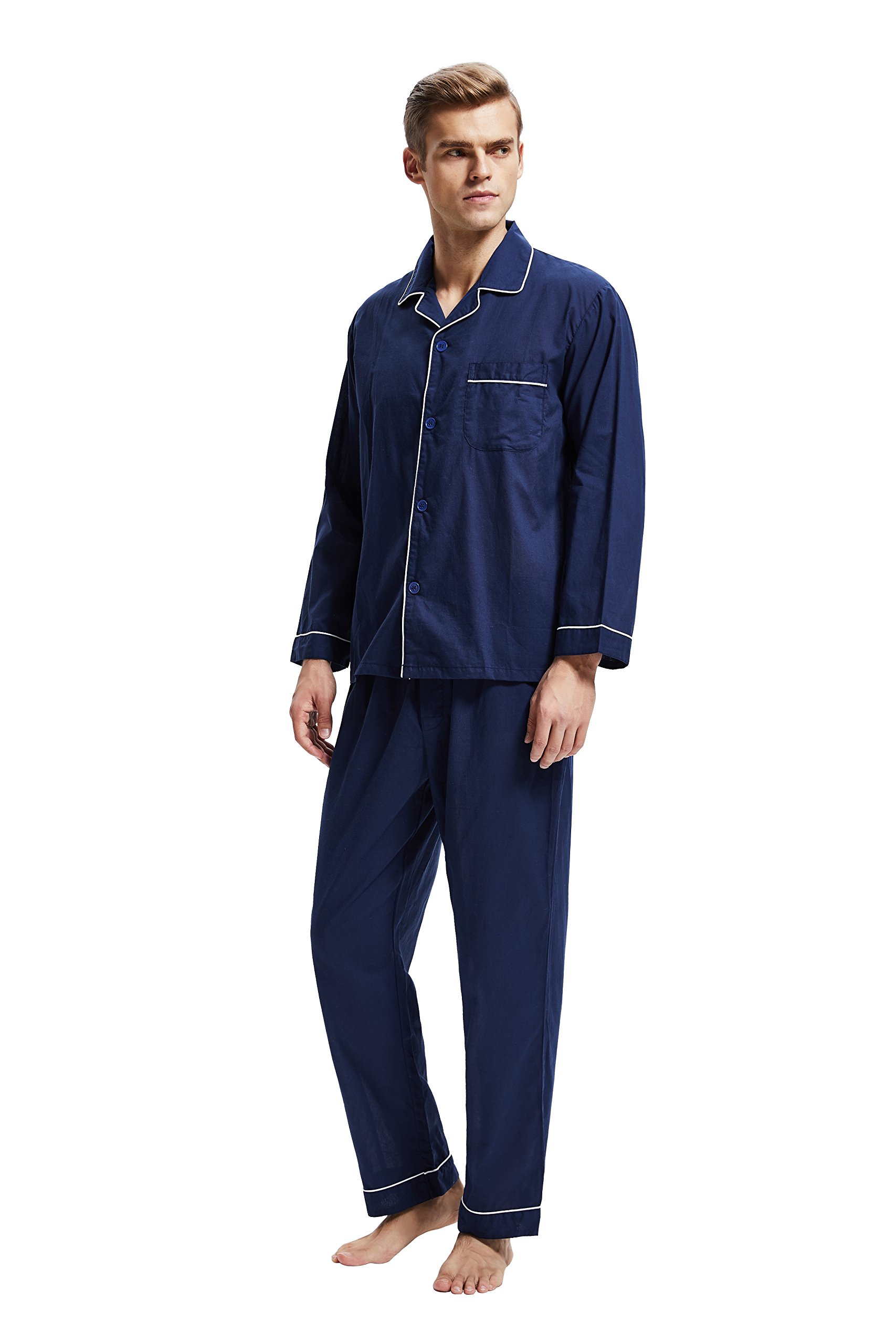Men's 100% Cotton Pajama Set, Long Sleeve Woven Sleepwear from Tony & Candice (X-Large, Navy Blue with White Piping)