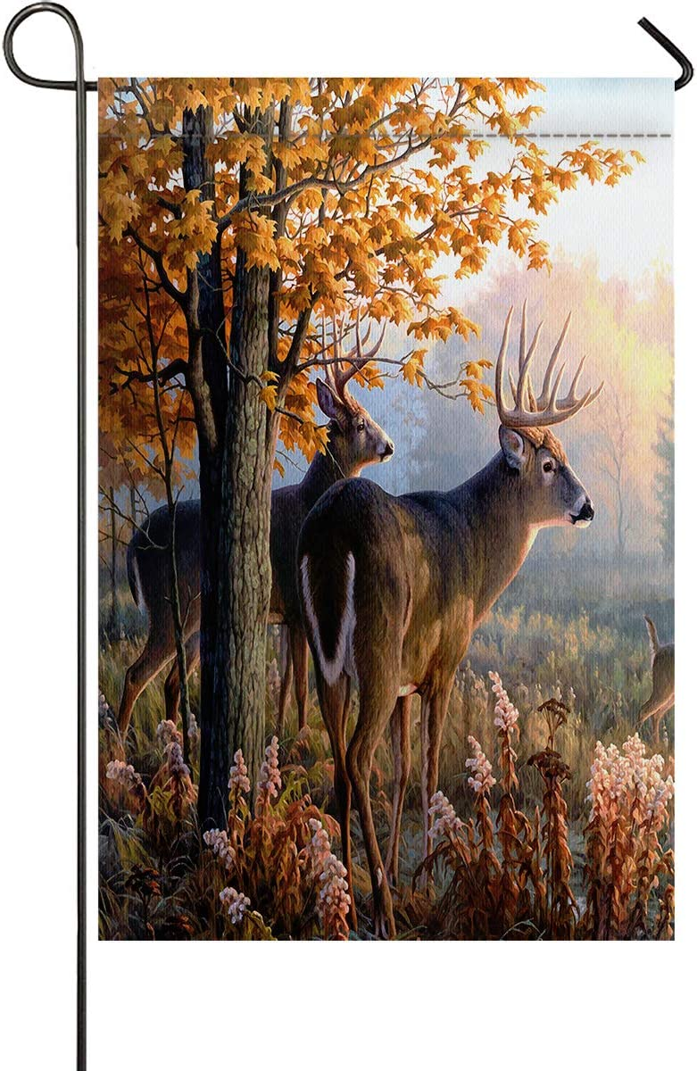 Autumn Nature Wildlife Animal Deers Hunting Season Garden Flag 28 x 40 inch Spring Summer Decorative Double Sided for Indoor & Outdoor Party Yard