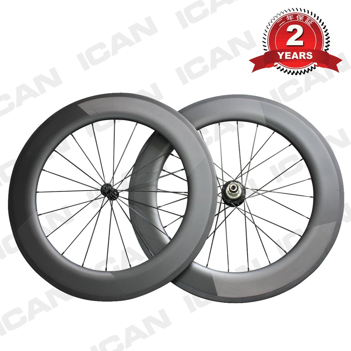 ICAN(アイカン) 86mm深 27mm幅 軽量ディープリム チューブラーカーボンホイールセット   ロードレース用 UD-マット ロゴ無し 20/24H 1ペア 約1830g B01KXH8KLU