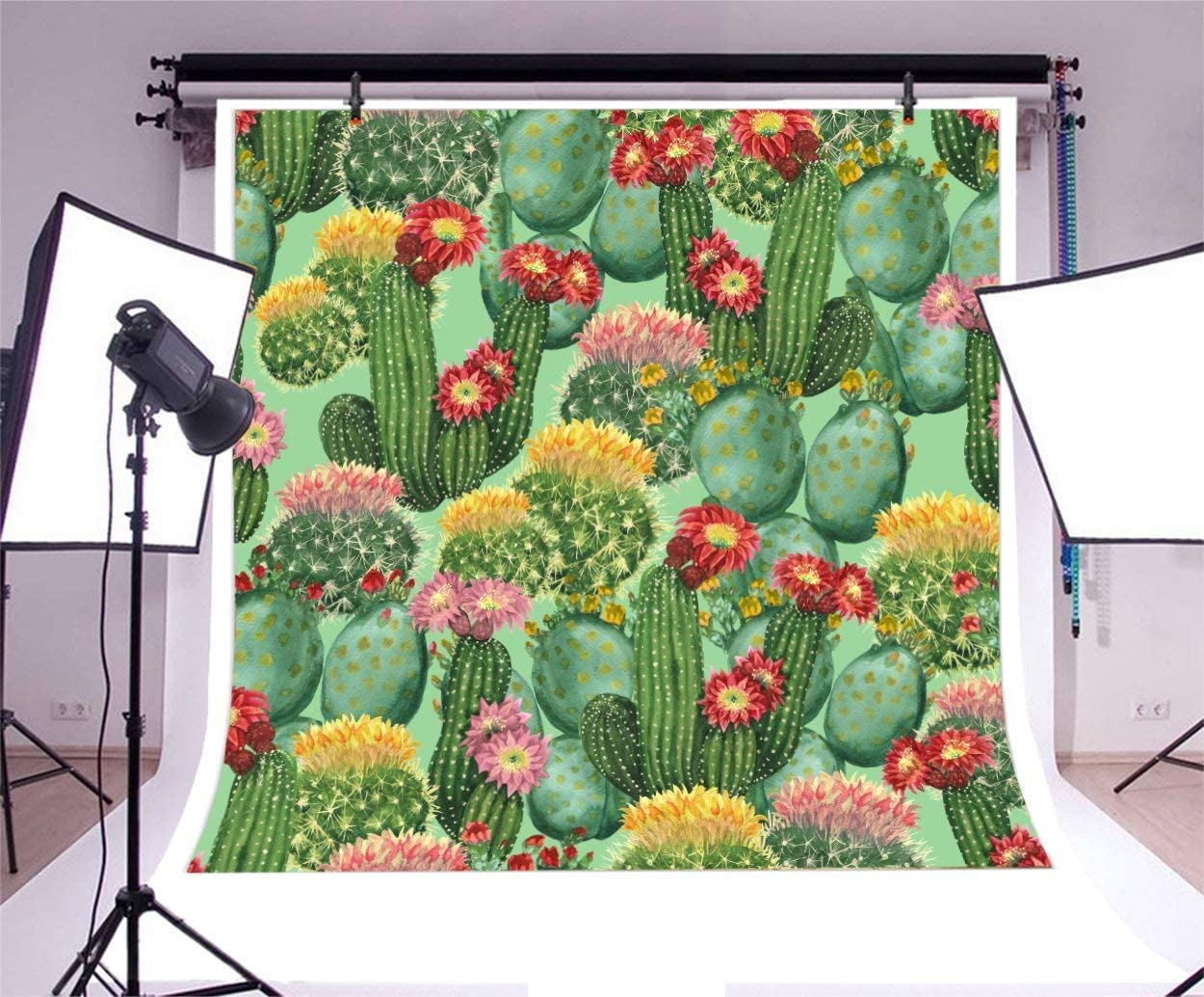 CdHBH 10x10ft Tropical Cactus Pattern Photography Backdrop Natural Evergreen Desert Plants Hand Drawn Botanical Cacti Black Background for Party Videos YouTube Photo Studio Props