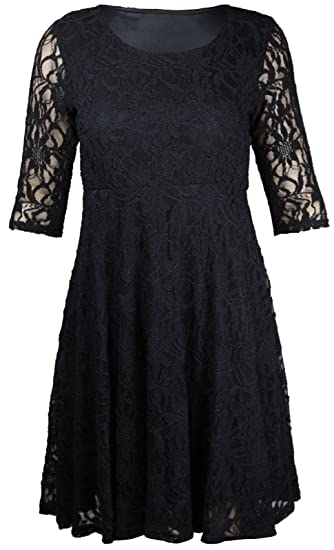 4427488c0af New Womens Floral Lace Lined Three Quarter 3 4 Sleeve Scoop Neck Ladies  Skater Style Mini Party Dress Plus Size  Amazon.co.uk  Clothing