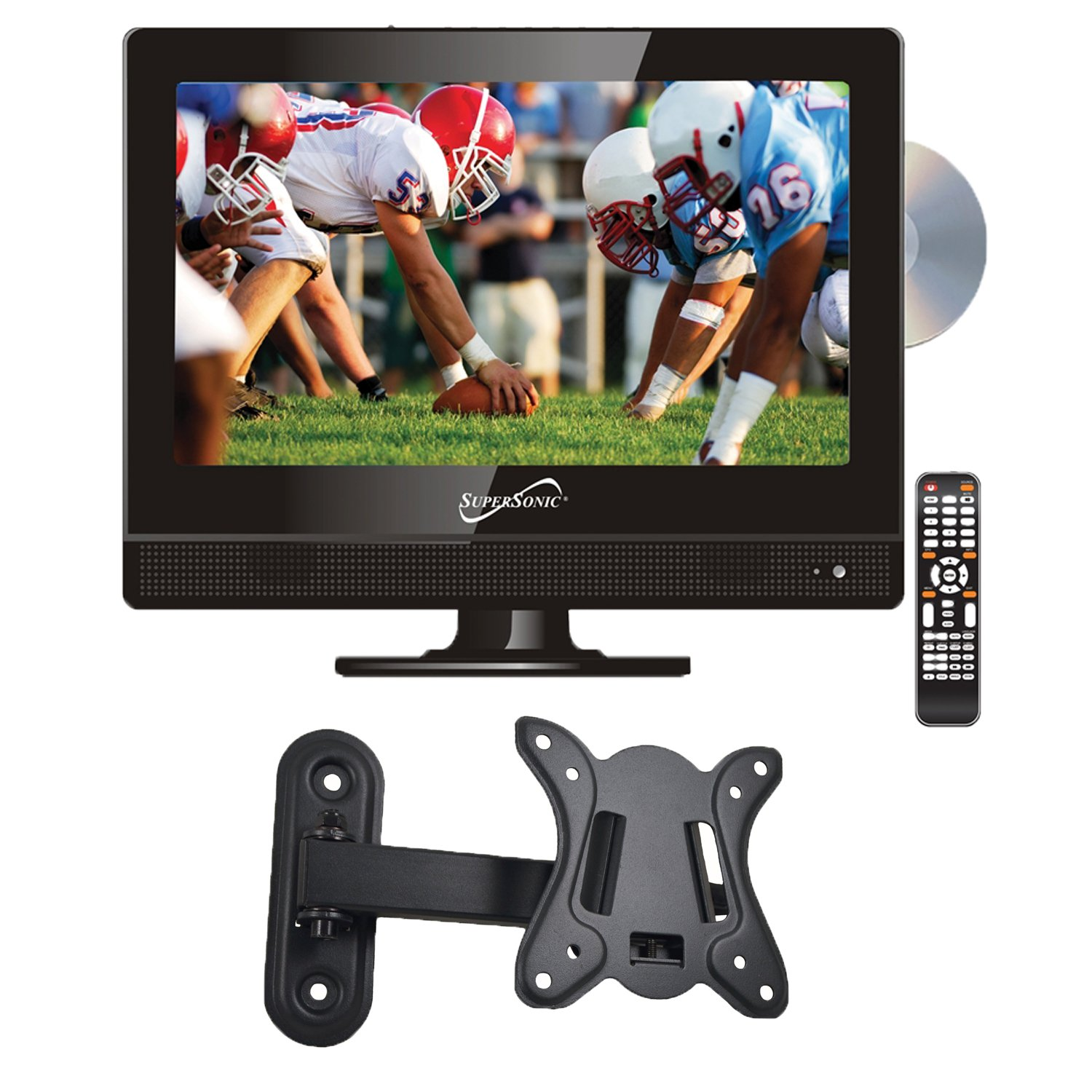 Supersonic SC-1312 13.3'' LED Widescreen HDTV with DVD Player and Wall Mount