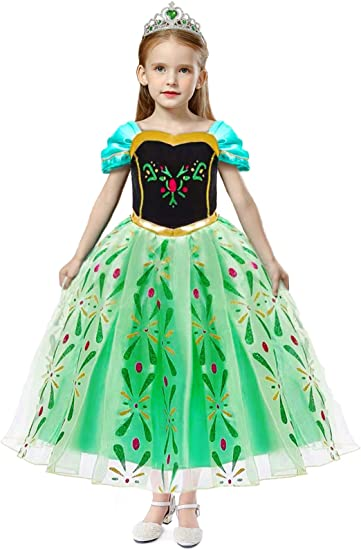 HenzWorld Princess Costume Dress Up Birthday Party Role Pretend Cosplay Outfits Cape Little Girls 2-8 Years