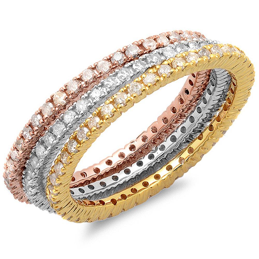 1.15 Carat (ctw) 14K White, Yellow & Rose Gold Diamond 3 Tone Eternity Wedding Band 3 Pcs. Ring Set
