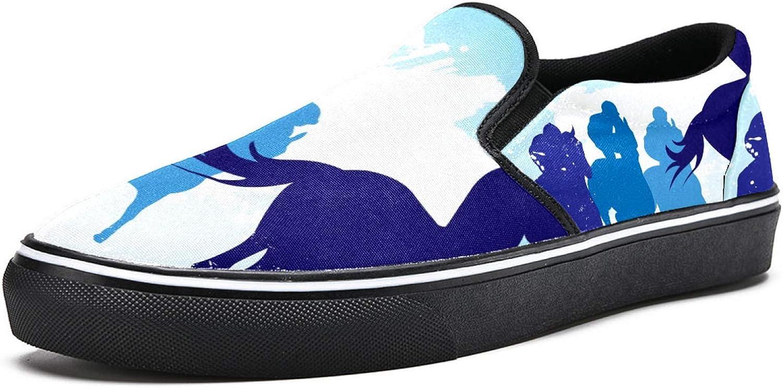 Caballos de carreras y jinetes resbalón en zapatos mocasines para mujer niña moda lona plana barco zapato
