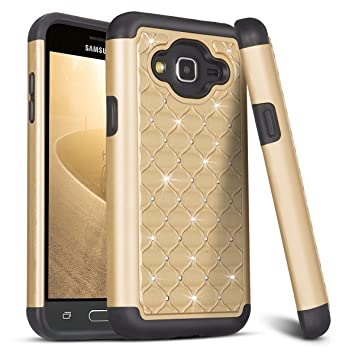HanLuckyStars Funda Samsung Galaxy J7 2016, Samsung J7 2016 Funda [Rhinestone Tachonado][Cristal Bling][Anti-choques] Híbrido Rugged Slim Carcasa Case ...