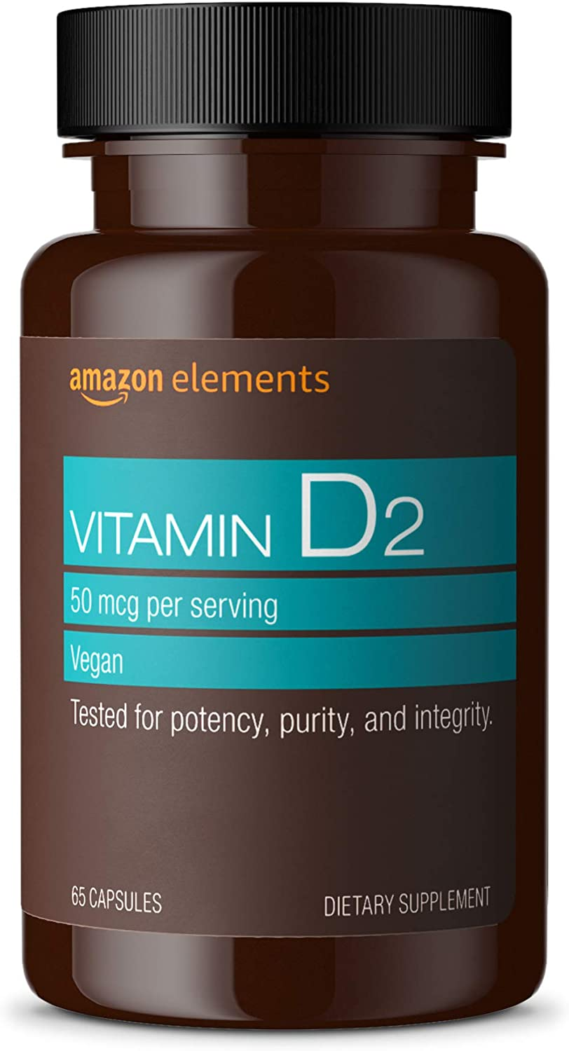Amazon Elements Vitamin D2 2000 IU, Vegan, 65 Capsules, Supports Strong Bones and Immune Health, 2 month supply (Packaging may vary)