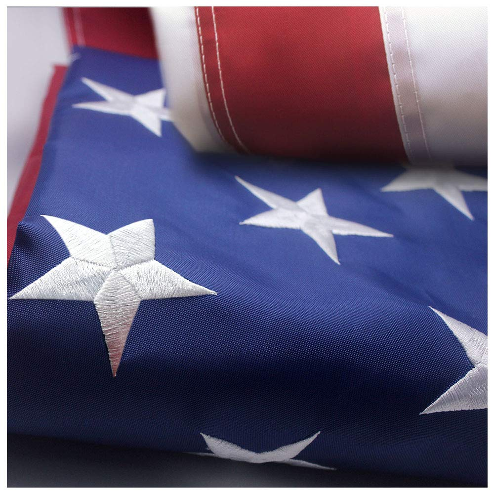 VSVO American Flag 4x6 ft -Embroidered Stars Sewn Stripes Brass Grommets U.S. Flags-Long Lasting Nylon Built for Outdoor Use.