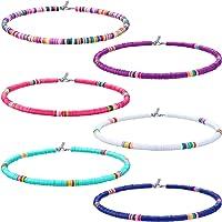 Hicarer 6 Piezas Collar de Surfero Heishi Gargantilla Bohemia Boho Collar de Cuentas de Vinilo Joyas para Mujeres Niñas