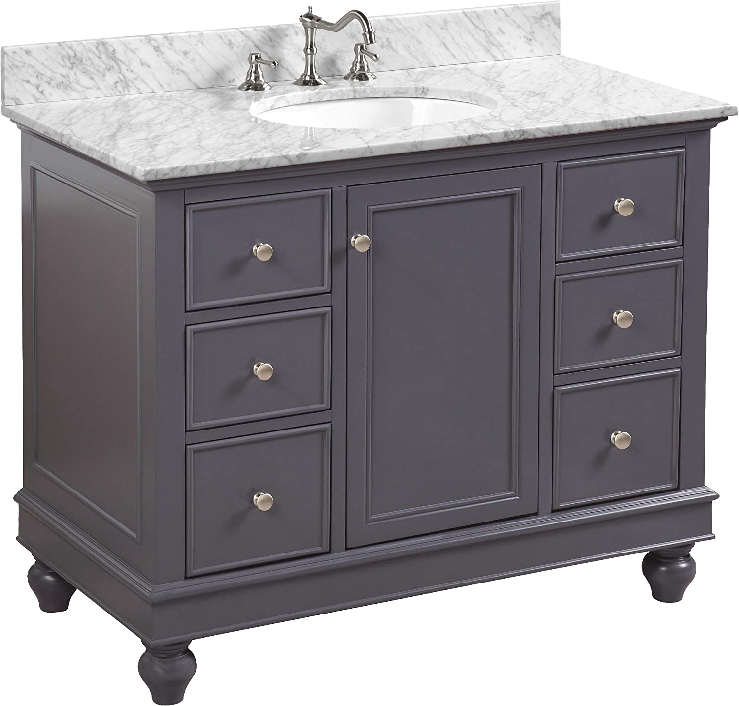 Amazon Com Bella 42 Inch Bathroom Vanity Carrara Charcoal Gray Includes Charcoal Gray Cabinet With Authentic Italian Carrara Marble Countertop And White Ceramic Sink Home Improvement