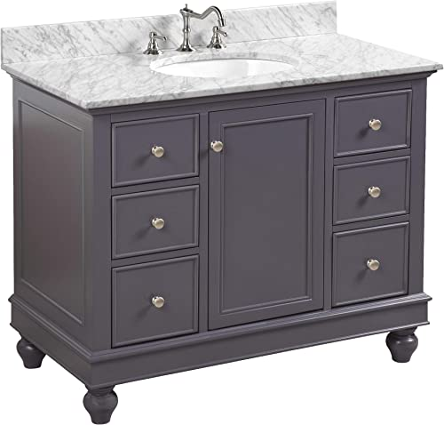 Bella 42-inch Bathroom Vanity Carrara/Charcoal Gray : Includes Charcoal Gray Cabinet