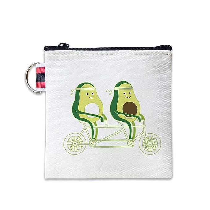 Avocado Riding Bike Canvas Coin Purse Cash Bag Small Zipper