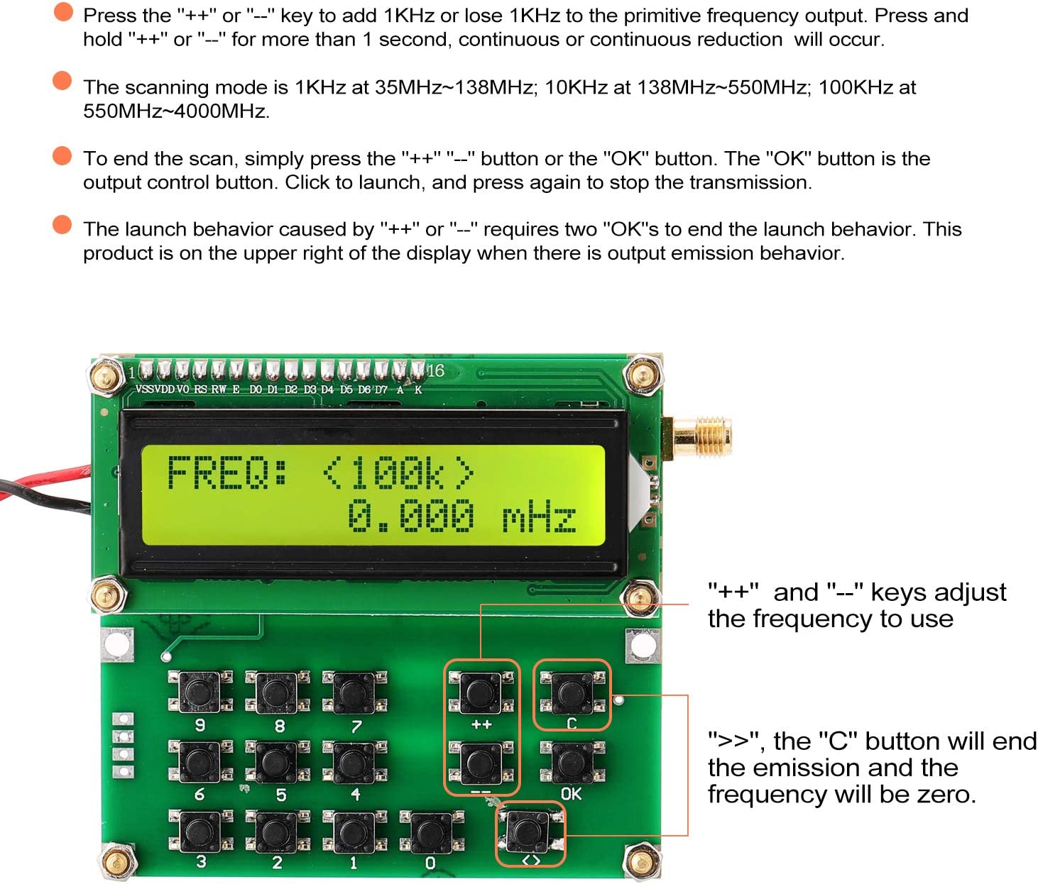 Leepesx ADF4351 Signal Source VFO Variable-Frequency Oscillator Signal Generator 35MHz to 4000MHz Digital LCD Display