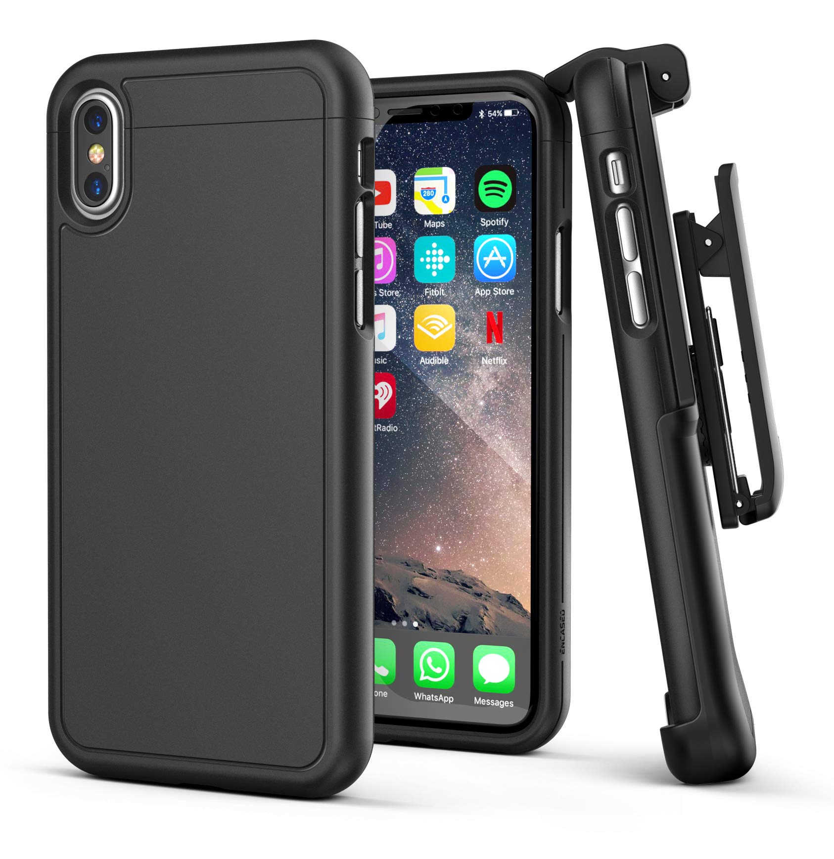 Encased iPhone Xs MAX Belt Clip Holster Case, Ultra Slim Protective Cover with Holster Clip for Apple iPhone Xs MAX Phone (Slimshield Series) Smooth Black