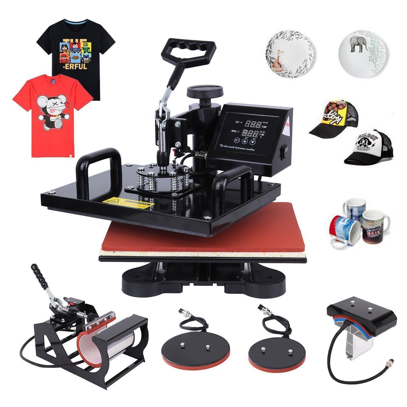 Ambienceo Digital Heat Press Machine Transfer Printer Sublimation T-Shirt Mug Plate Hat 12'' X 15'' (5 IN 1) by Ambienceo