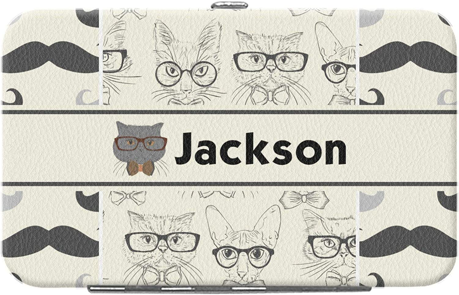 Hipster Cats /& Mustache Genuine Leather Small Framed Wallet Personalized