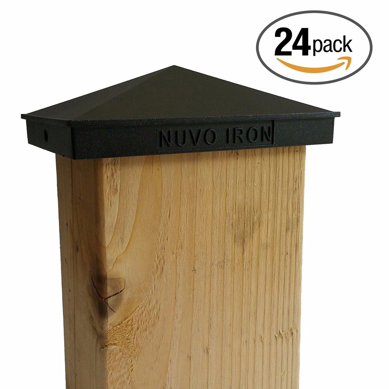 Nuvo Iron Decorative Pyramid Aluminium Post Cap for 3.5'' x 5.5'' / 4'' x 6'' Posts - Black [24 PACK]