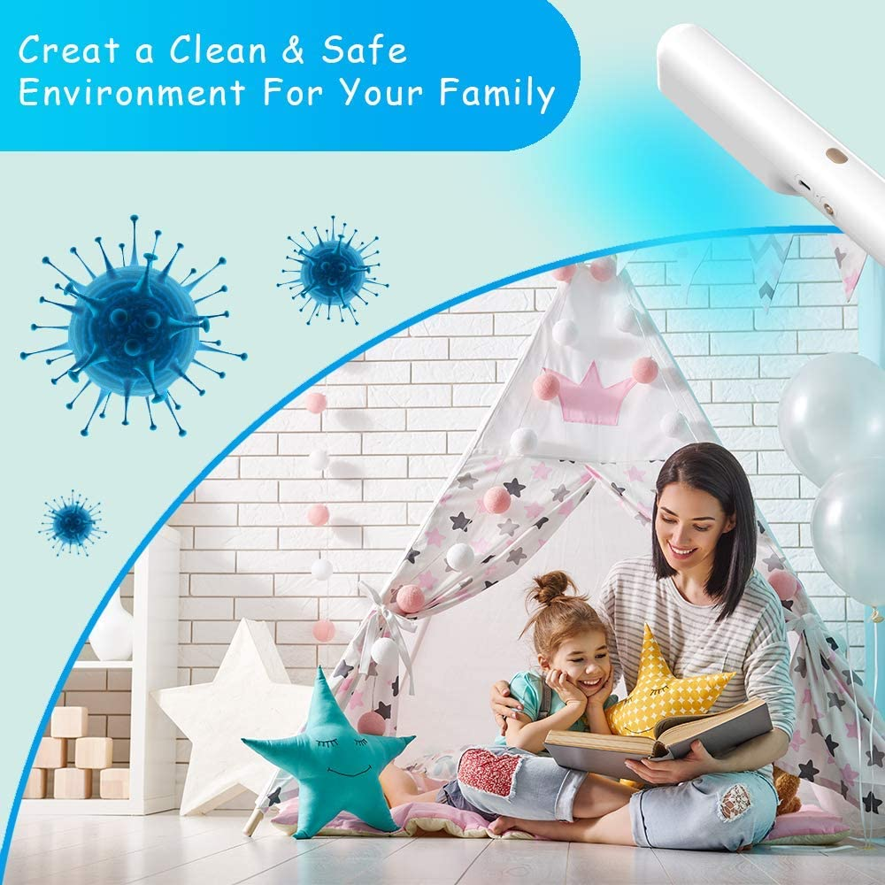 Veilad [US Stock] UV-C LED Travel Sized UV Sanitizing Wand - Portable Ultraviolet Disinfection Wand - 99% Effective Sanitizing Device for Phones, Tablet, Laptop, Wardrobe, Pet Areas, Baby Items, Toilets, Toy: Kitchen & Dining
