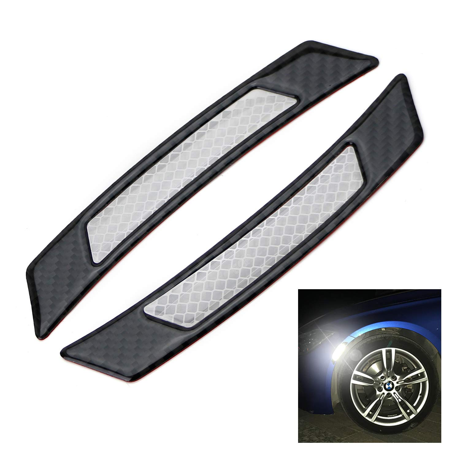 iJDMTOY Pair Universal White Reflective Side Marker Stickers w/Outer Black Carbon Fiber Trim For Car SUV Truck Wheel Well Arch or Side Bumper/Fenders iJDMTOY Auto Accessories Bulb-less Reflective Stick On Sidemarker