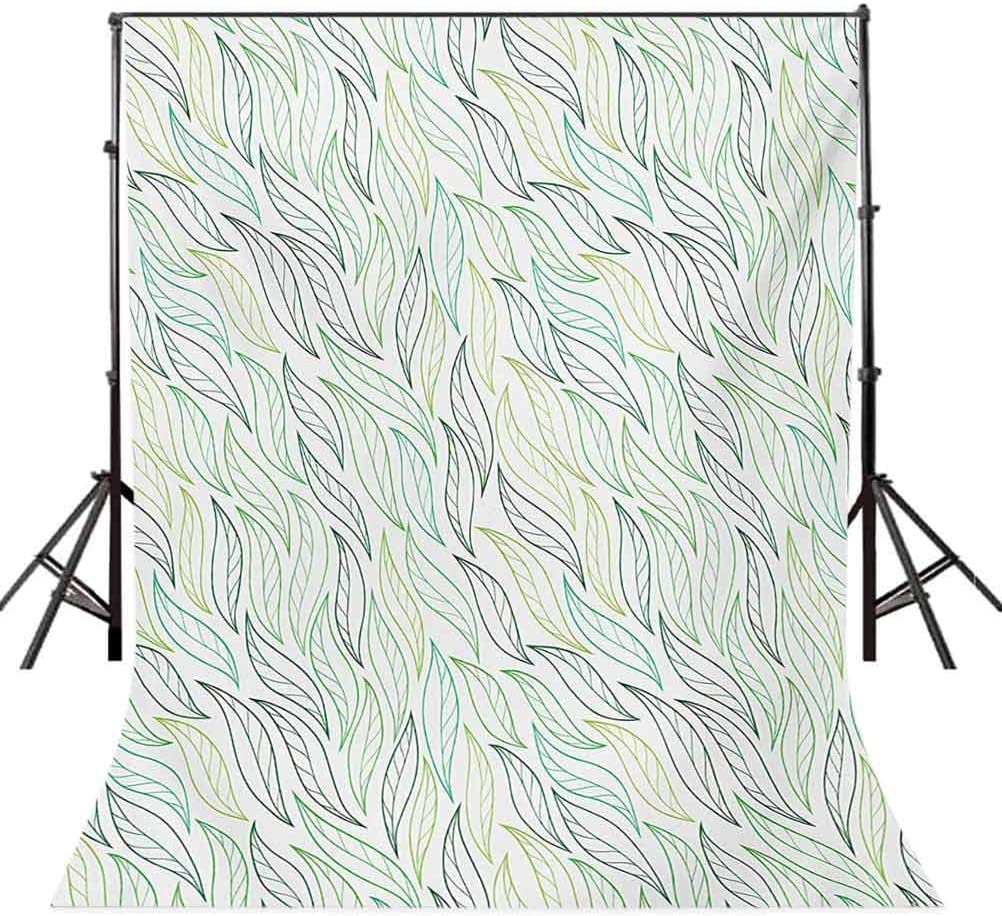 Leaf 10x15 FT Photo Backdrops,Floral Leaf Patterns with Ornamental Lines Contemporary Graphic Art Background for Party Home Decor Outdoorsy Theme Vinyl Shoot Props Green Soft Green Navy Blue