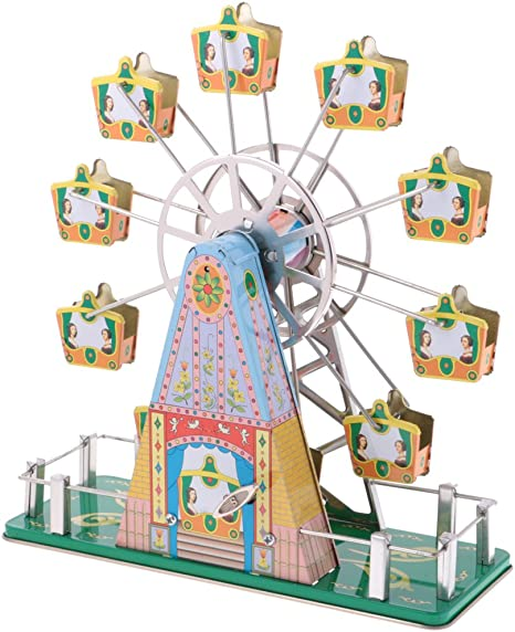 Cuticate Vintage Styled Ferris Wheel Clockwork Tin Toy Wind Up To Spin With Melody Amazon Co Uk Toys Games