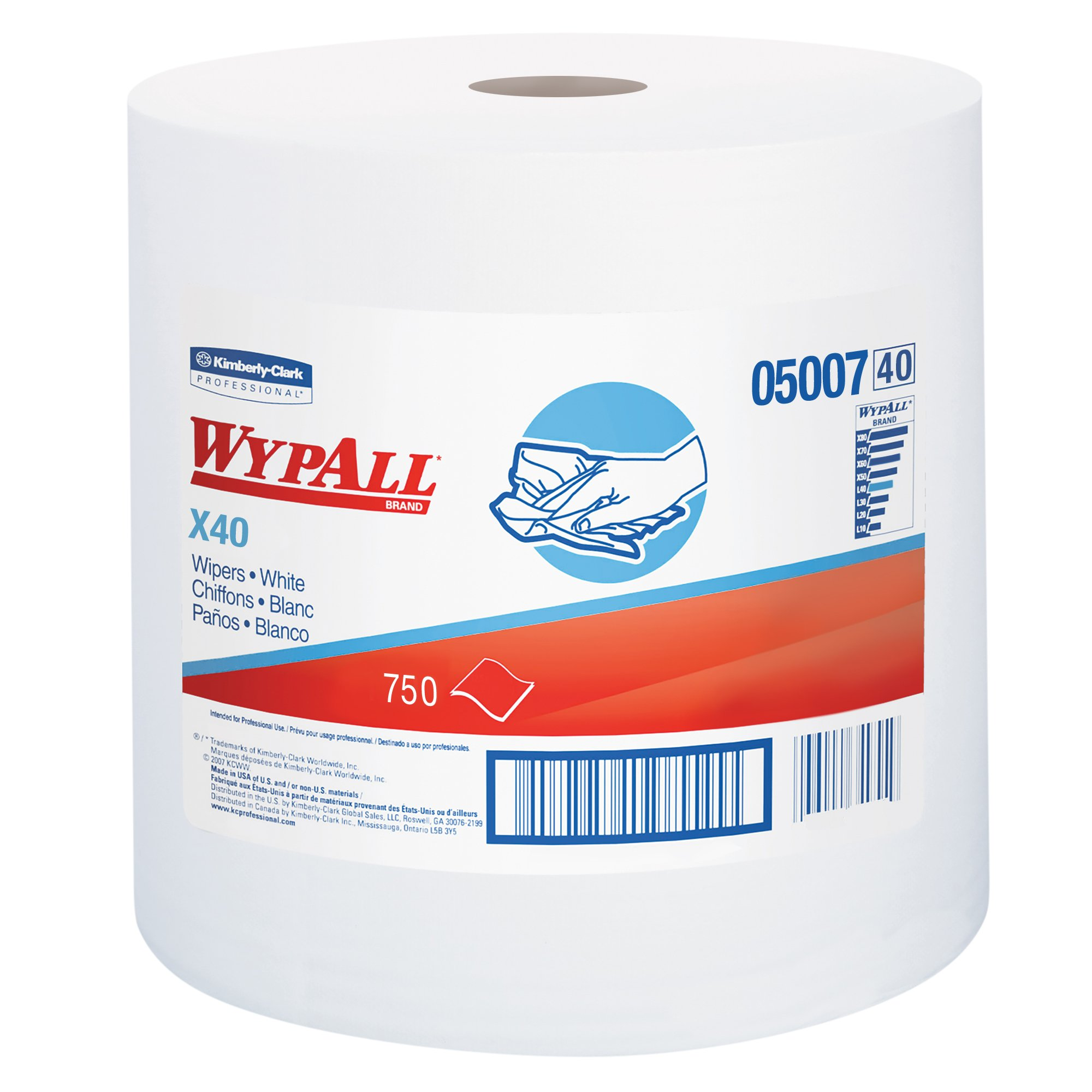 WypAll L40 Disposable Cleaning and Drying Towels (05007), Limited Use Towels, White, 1 Jumbo Roll per Case, 750 Sheets per Roll