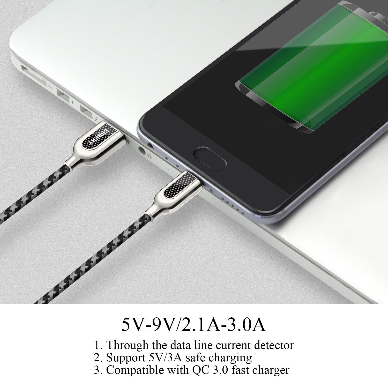 Motorola C/âble micro USB tablette et plus Zs-tp 1/m Carbone Tissu en nylon tress/é 2,4/A haute vitesse rapide chargeur USB et c/âble de synchronisation pour les appareils Android comme Samsung HTC Kindle Nokia