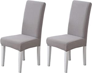 Pack of 2 - Dining Room Chair Slipcovers, Stretch Spandex Dining Chair Covers, Furniture Protector Covers Removable & Washable, Perfect for Dining Room, Restaurant, Hotel, Ceremony, Event Grey
