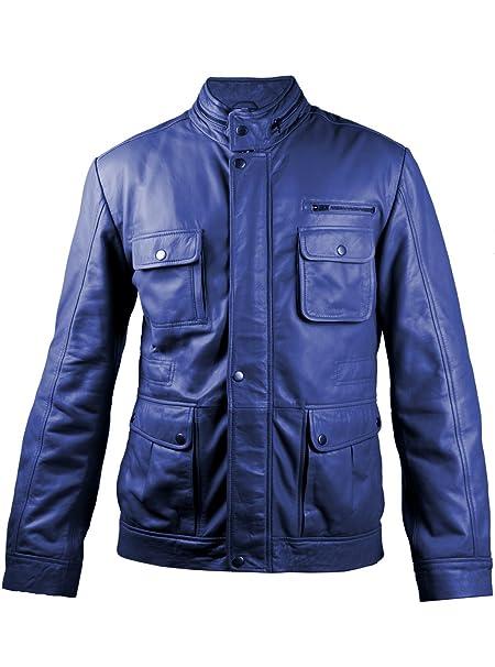 440ca9cdb20a FE Adventure Reborn Real Mens Genuine Navy Blue Leather Jacket Moto Racer  Inspired Coat