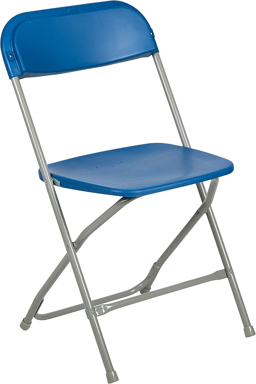 Flash Furniture HERCULES Series 650 lb. Capacity Premium Blue Plastic Folding Chair