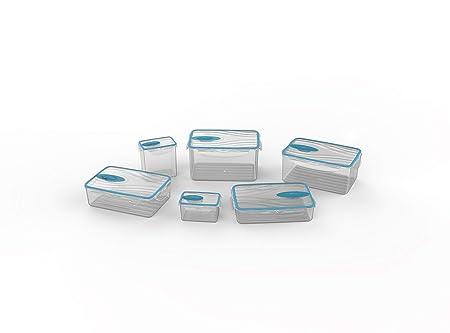 Biesse Set de 6 tuppers herméticos con válvula para Cocina microondas y Aptos para el congelador, Azul, 30.4x22.1x16.8 cm, 6 Unidades
