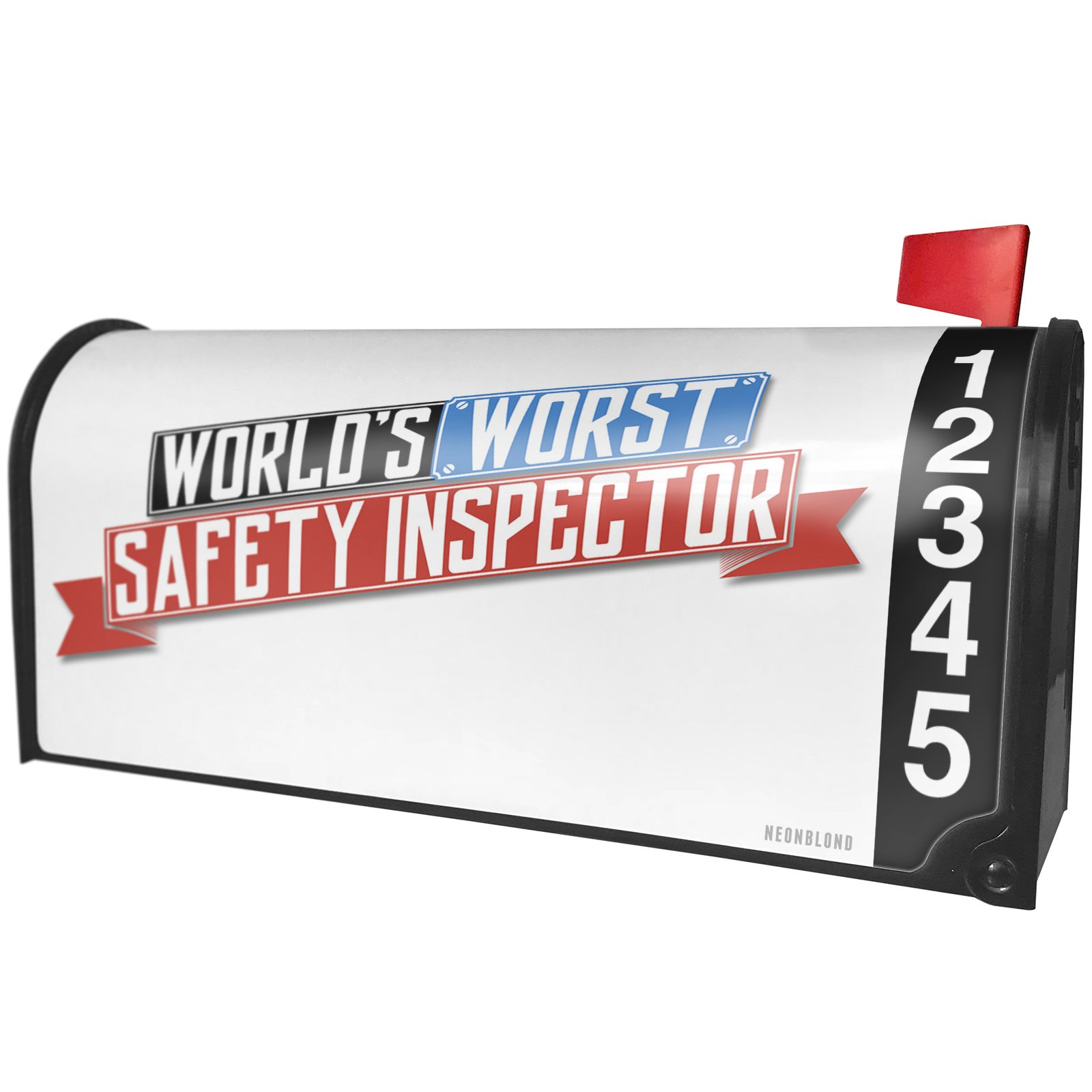 NEONBLOND Funny Worlds Worst Safety Inspector Magnetic Mailbox Cover Custom Numbers