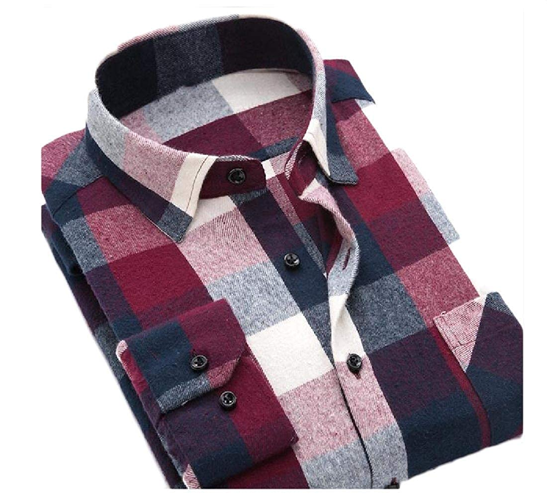 Zimaes-Men Cotton Fashion Slim Fitted Classic Plaid Long-Sleeve T-Shirts
