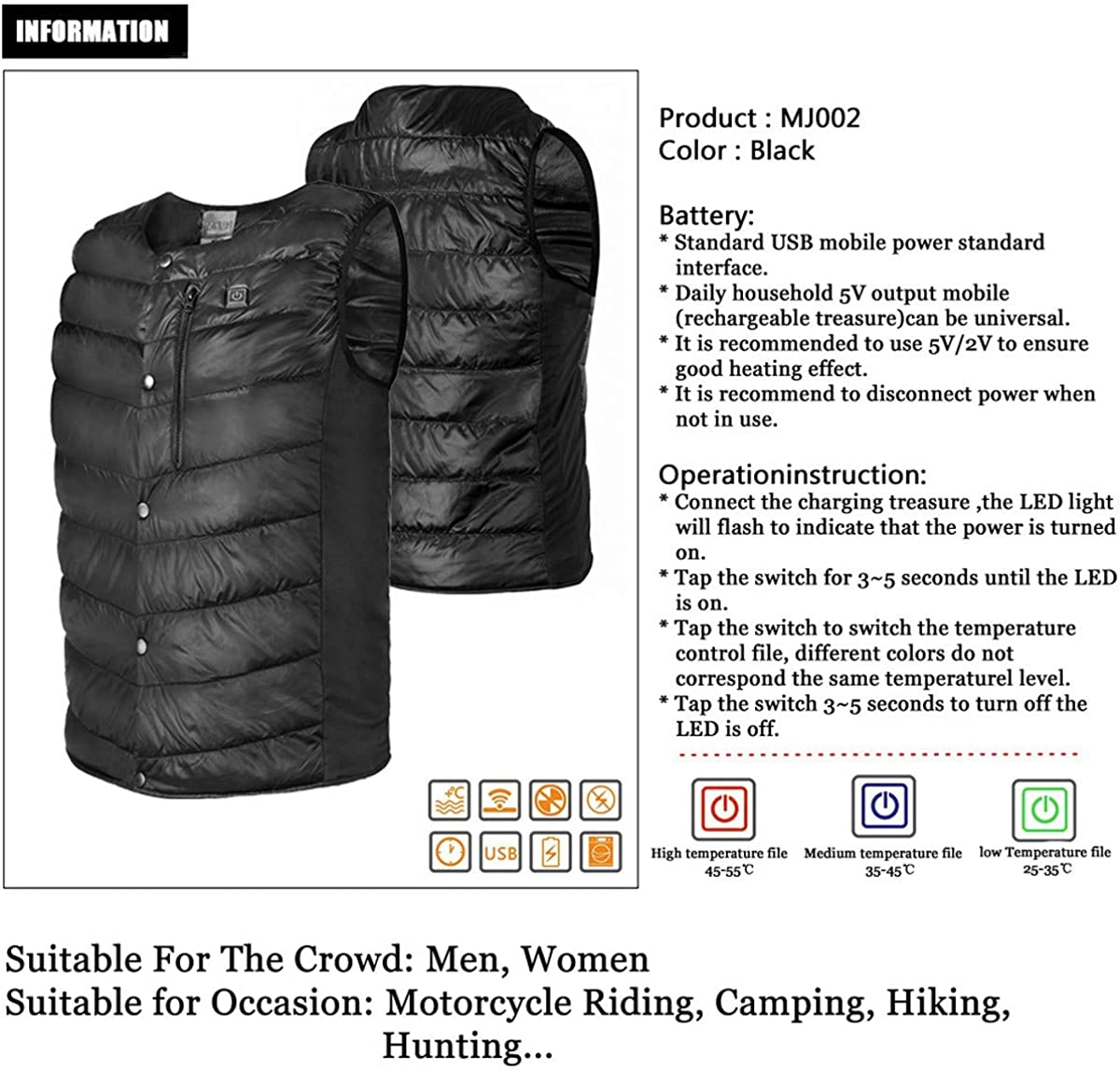 No Battery Heated Vest for Men Unisex Warming Lightweight USB Charging Electric Gilet Gilet