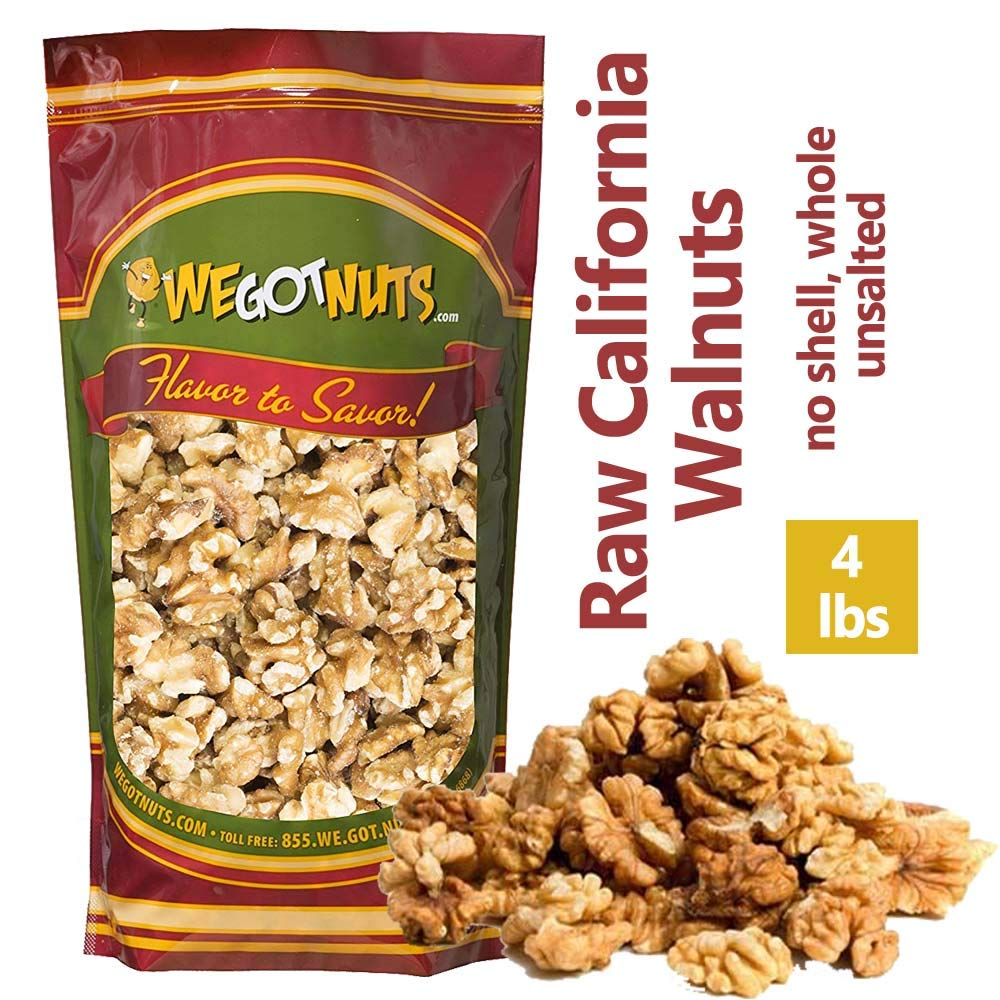 We Got Nuts California Raw Walnuts - 100% All Natural Shelled Halves and Pieces (4lb) by We Got Nuts