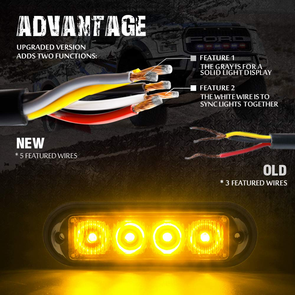 Xprite Amber Yellow 4 Led Watt Emergency Vehicle Wiring Lights Together Waterproof Surface Mount Deck Dash Grille Strobe Light Warning Police Head With Clear