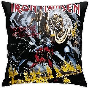 Ssxvjaioervrf Iron Maiden Pillowcase Zippered Throw Pillow Cover Soft 18 X 18 Inches