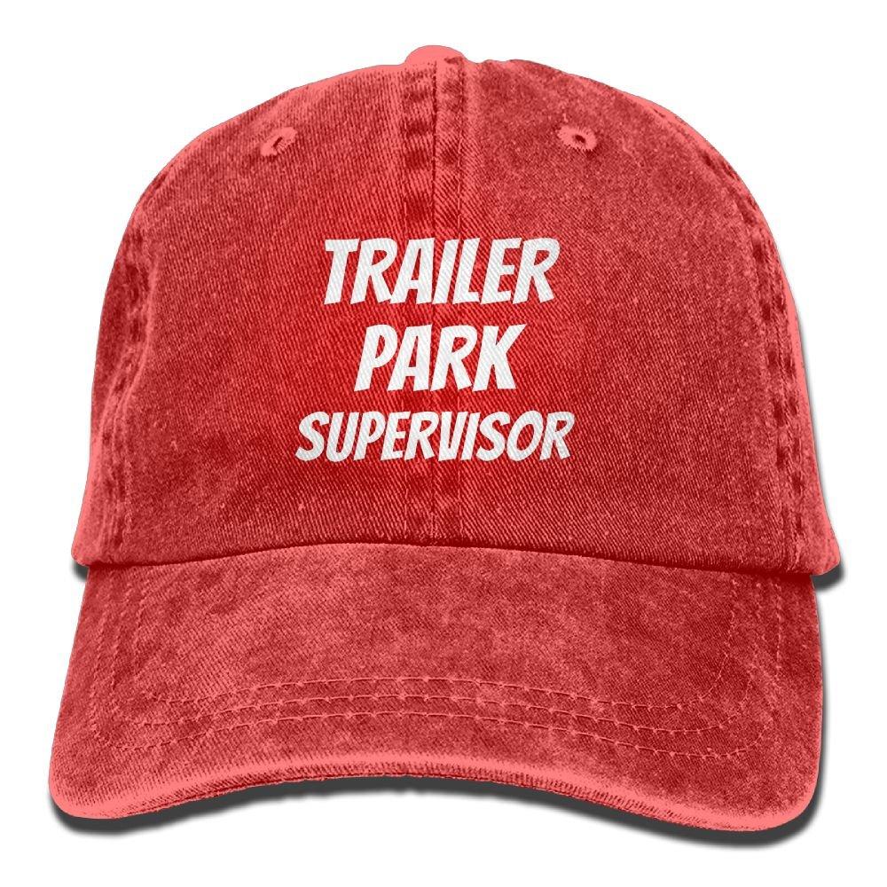 WXH6688 Trailer Park Supervisor Adjustable Washed Cap Cowboy Baseball Hat Red