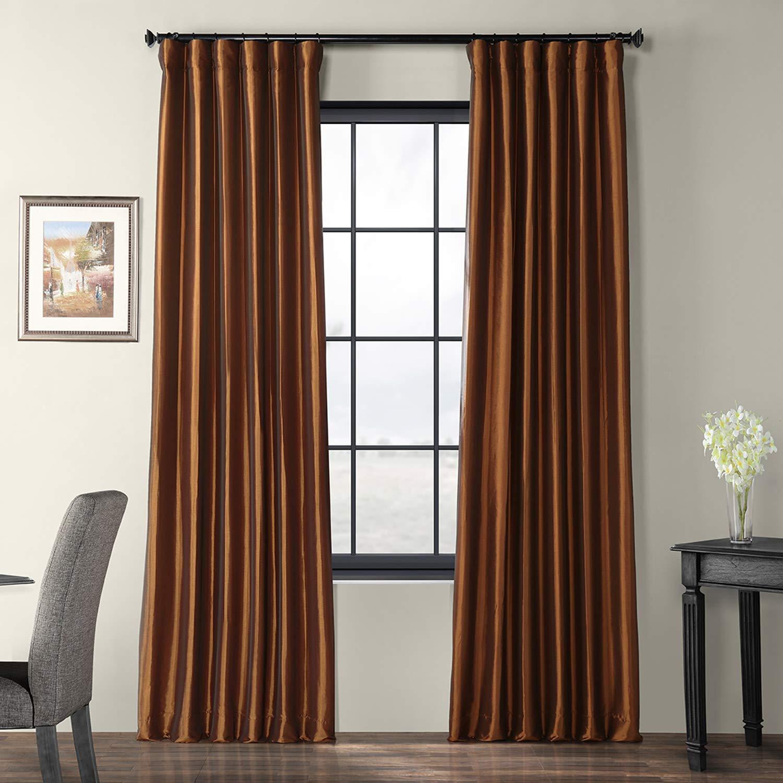 Copper Brown 50 x 108 PTCH-JTSP429-108 Faux Silk Taffeta Curtain, Winter Ice, 50  x 108