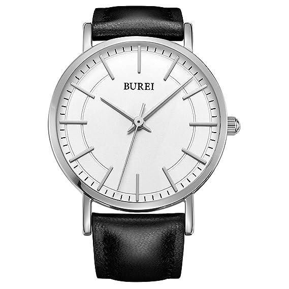 BUREI Relojes de muñeca Unisex Delgados con Esfera Blanca Correa de Cuero Moda Simples Relojes únicos para Las Mujeres: Amazon.es: Relojes