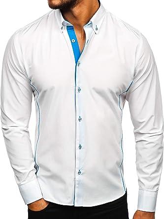 BOLF Hombre Camisa De Manga Larga Abotonada Cuello Americano Camisa de Algodón Slim fit Estilo Casual 2B2: Amazon.es: Ropa y accesorios