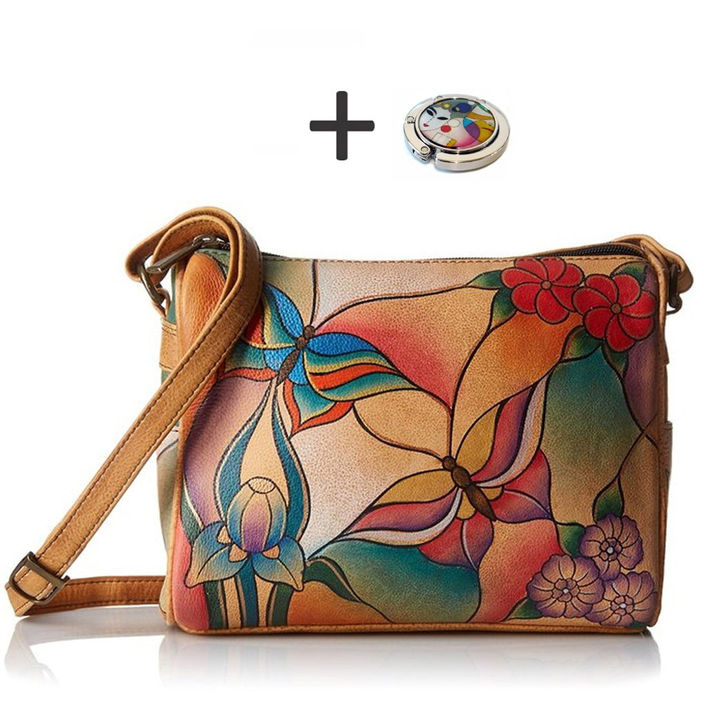 Anuschka Shoulder Handbag - Hand Painted Design on Real Leather - Free Purse Holder (Twin Top Butterfly Glass Painting) by Anna by Anuschka