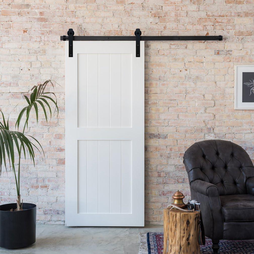 sin rollo y puerta XHKJ 2,5 FT-10FT duradero y pr/áctico color negro riel para barrotes de puerta de granja Riel para puerta de granja corredera