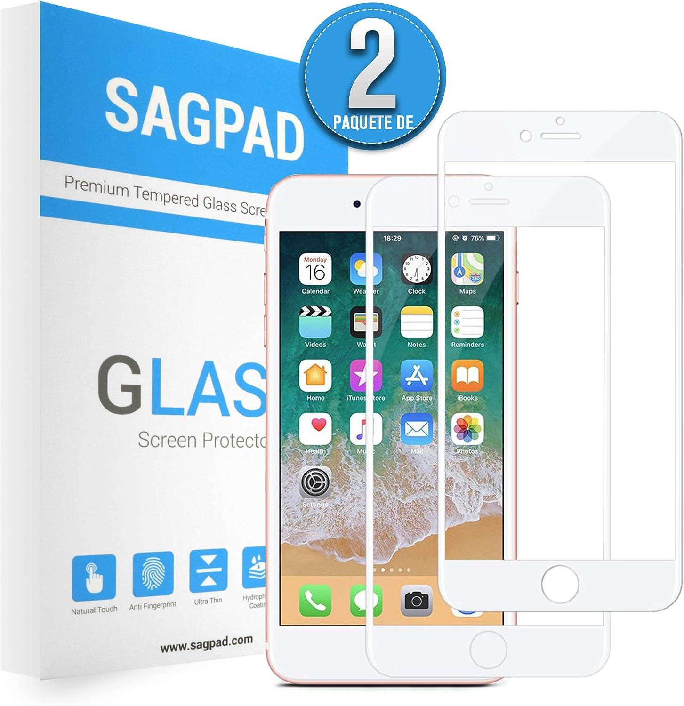 SAGPAD [2 Piezas] Cristal Templado para iPhone 7 Plus/ 8 Plus, Cubierta Completa Vidrio Templado 9H Protector Pantalla Premium, Anti-Huella Digital, Anti-Burbujas par 8 Plus / 7 Plus (Blanco)